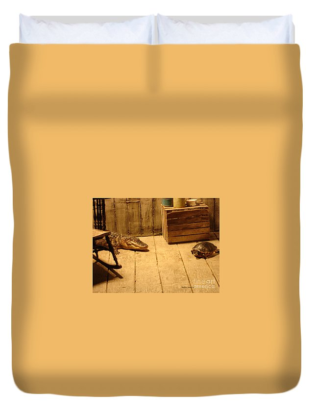 Turtle Duvet Cover featuring the photograph Lets Be Friends by Shelley Jones