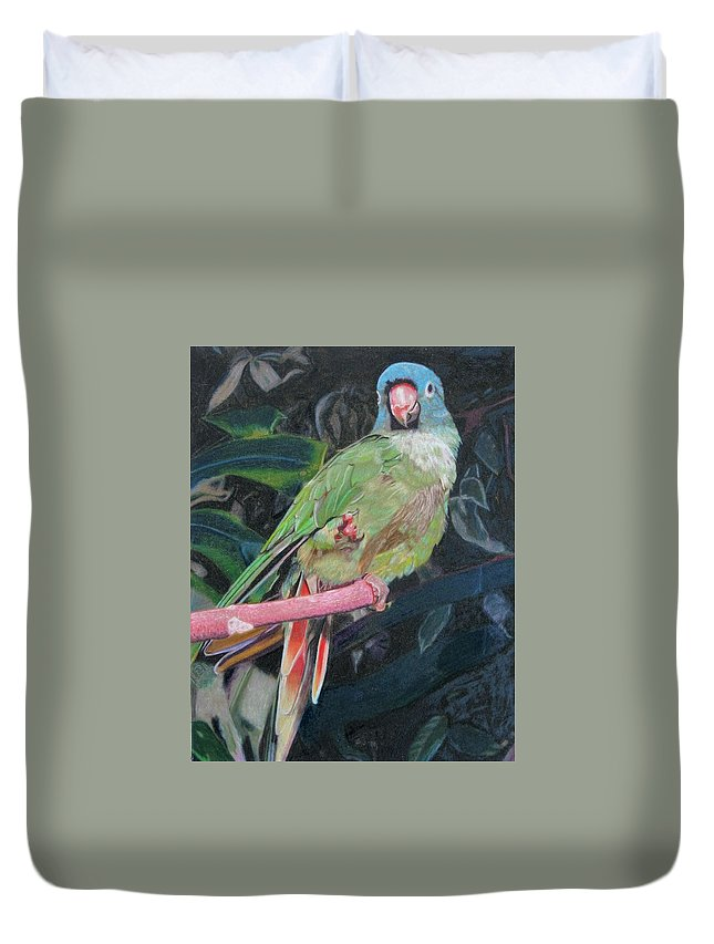 Bird Duvet Cover featuring the drawing Let's Dance by Lori Hanks