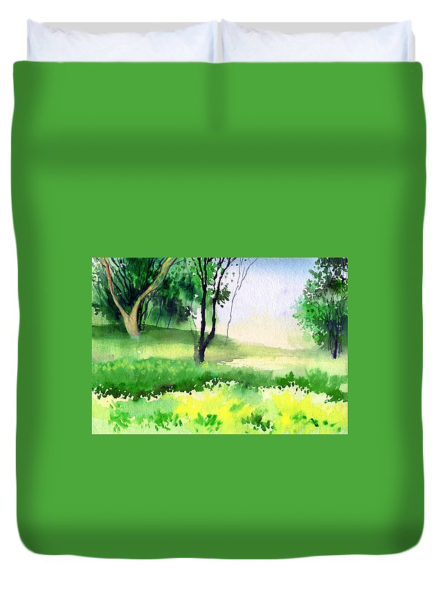 Watercolor Duvet Cover featuring the painting Let's Go For A Walk by Anil Nene