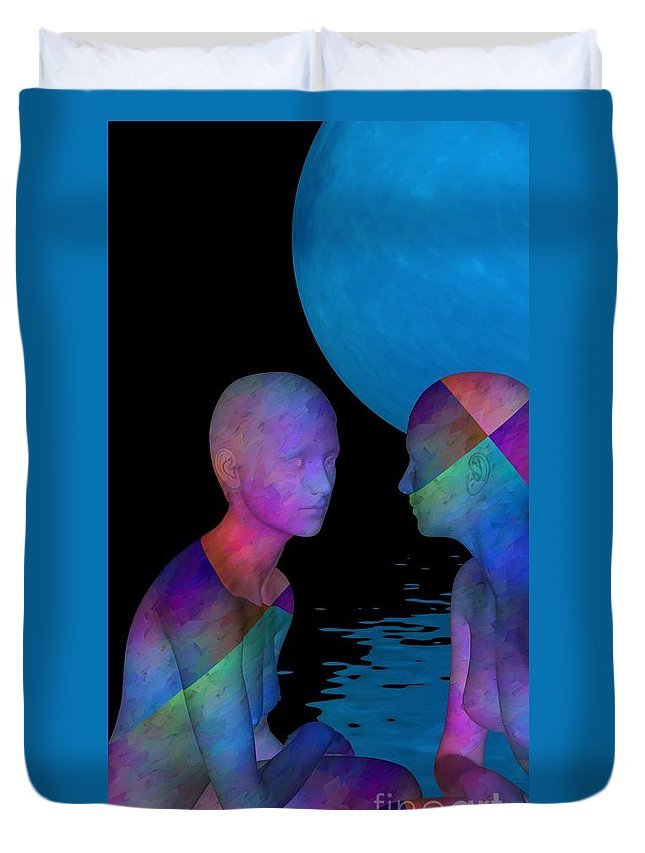 3d Duvet Cover featuring the digital art Let's Have Al Little Talk by Issabild -
