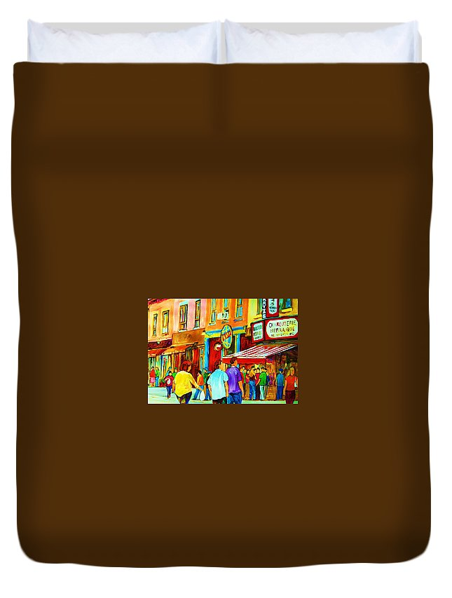 Cityscape Duvet Cover featuring the painting Lets Meet For Lunch by Carole Spandau