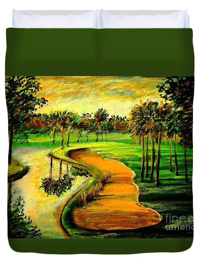 Golf Course Duvet Cover featuring the painting Let's Play Golf by Patricia L Davidson