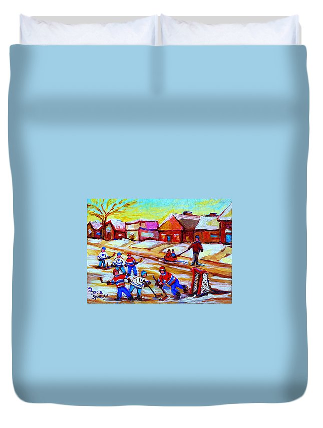 Hockey Canvas Prints Duvet Cover featuring the painting Lets Play Hockey by Carole Spandau