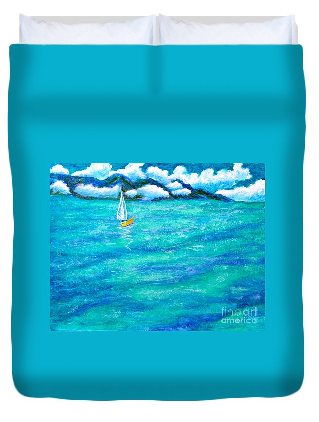 Anne Alfaro Duvet Cover featuring the painting Let's Sail Away by Anne Alfaro