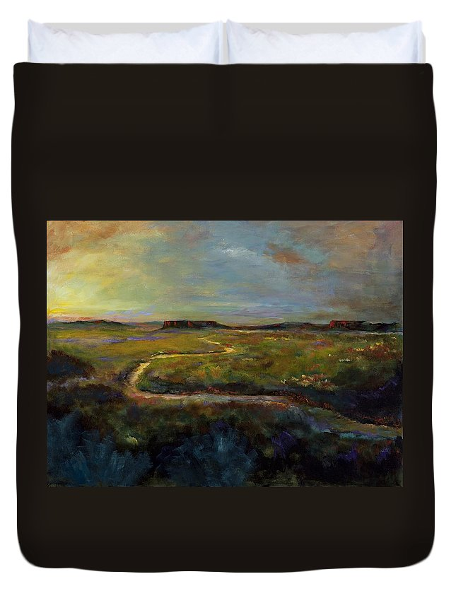 Paths Duvet Cover featuring the painting Let's Take This Path by Frances Marino