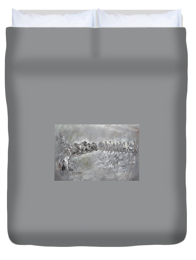 Fine Art Duvet Cover featuring the drawing Let's Talk... by Ylli Haruni