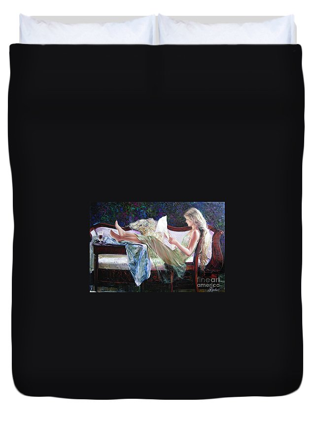 Figurative Duvet Cover featuring the painting Letter From Him by Sergey Ignatenko