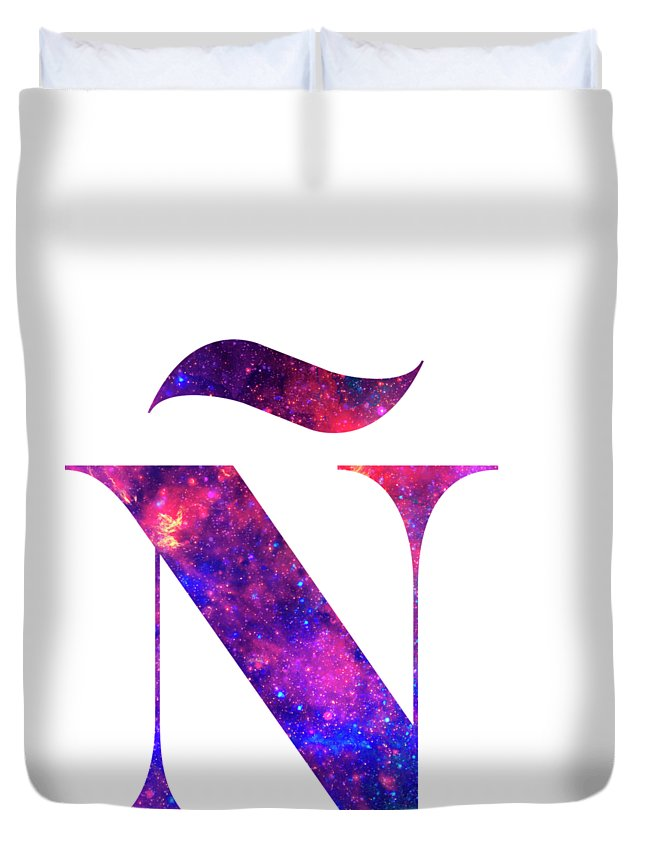 Letter Duvet Cover featuring the painting Letter Galaxy In White Background by Pablo Romero