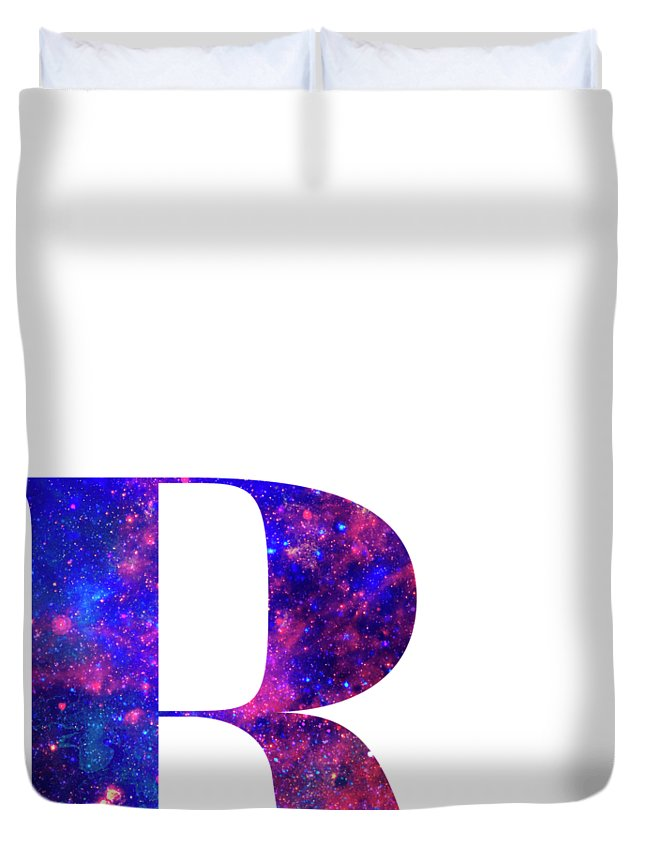 Letter Duvet Cover featuring the painting Letter R Galaxy In White Background by Pablo Romero