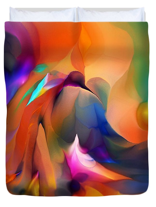 Fine Art Duvet Cover featuring the digital art Letting Go by David Lane