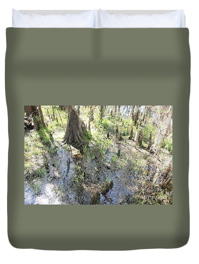 Lettuce Lake Duvet Cover featuring the photograph Lettuce Lake Swampland by Carol Groenen