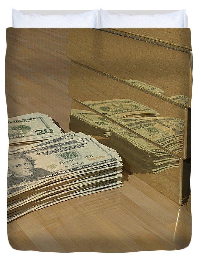 Money Duvet Cover featuring the digital art Level One Money Manifestation by James Barnes