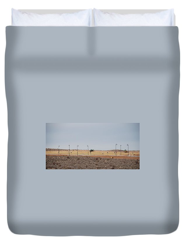 Trackor Duvet Cover featuring the photograph Levels Of Land by Rob Hans
