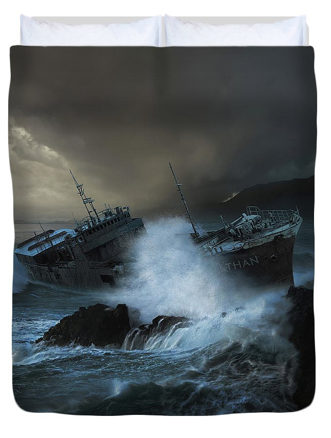 Sea Duvet Cover featuring the photograph Leviathan by Michal Karcz