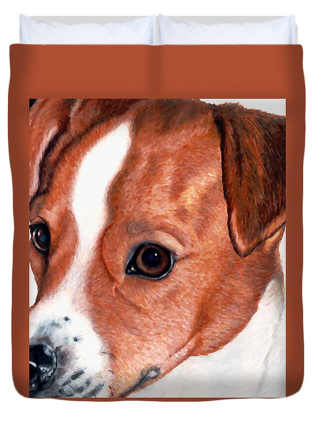 Jack Russell Terrier Duvet Cover featuring the drawing Lewie by Kristen Wesch