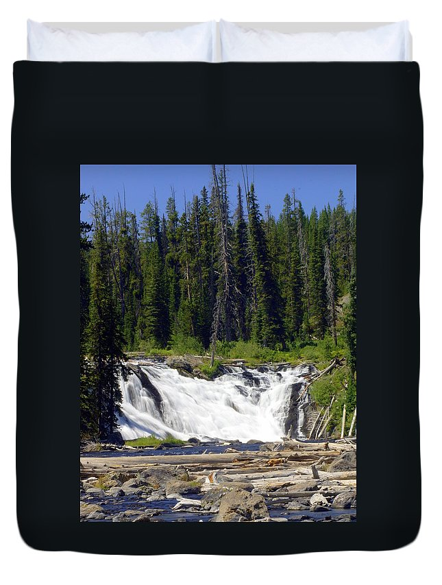 Lewis Falls Duvet Cover featuring the photograph Lewis Falls by Marty Koch