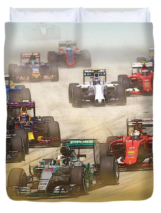 Formula 1 Duvet Cover featuring the digital art Lewis Hamilton Leads The Pack by Don Kuing