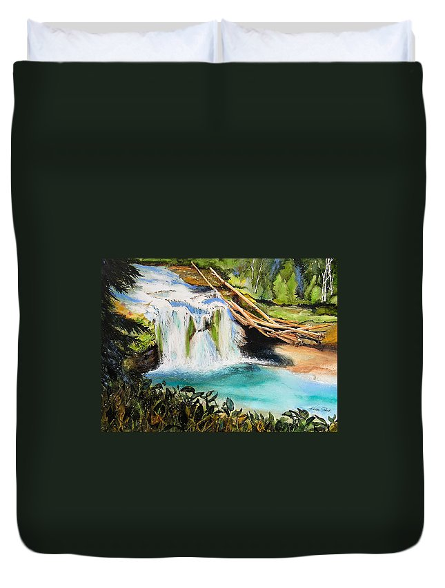 Water Duvet Cover featuring the painting Lewis River Falls by Karen Stark