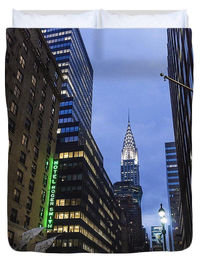 Lexington Avenue Duvet Cover featuring the photograph Lexington Avenue, Chrysler building, New York by Juergen Held