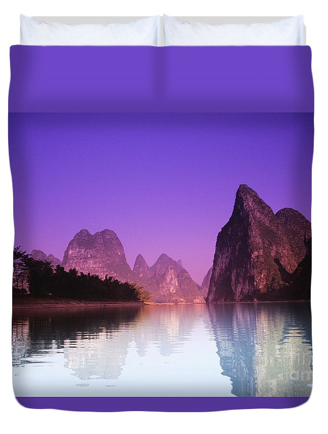Asian Art Duvet Cover featuring the photograph Li River Near Yangshuo by Gloria & Richard Maschmeyer - Printscapes