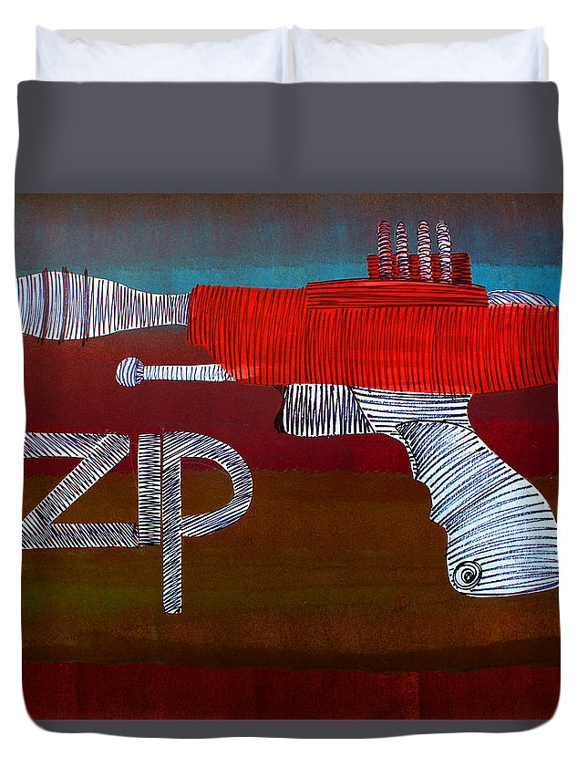 Raygun Duvet Cover featuring the painting Lib-255 by Artist Singh