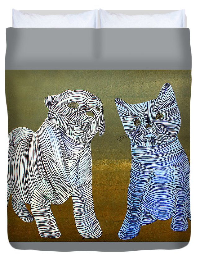 Dog Duvet Cover featuring the painting Lib-263 by Artist Singh