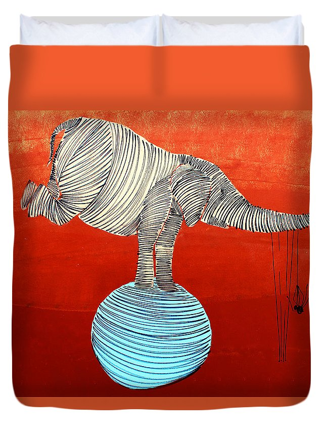Elephant Duvet Cover featuring the painting Lib-265 by Artist Singh
