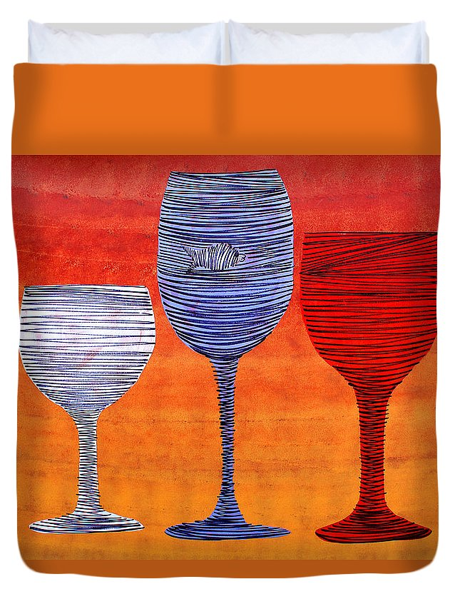 Glasses Duvet Cover featuring the painting Lib-271 by Artist Singh