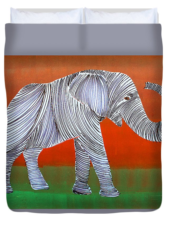 Elephant Duvet Cover featuring the painting Lib-273 by Artist Singh