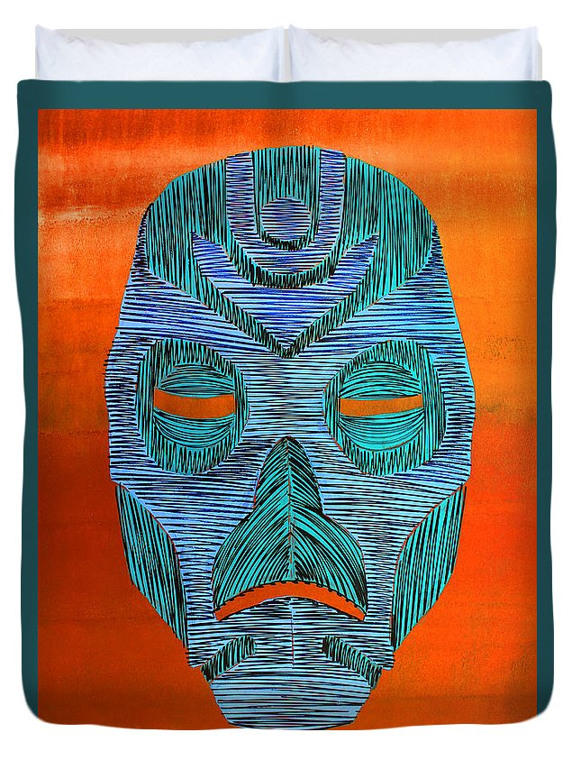 Mask Duvet Cover featuring the painting Lib-275 by Artist Singh