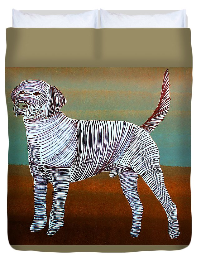 Dog Duvet Cover featuring the painting Lib-283 by Artist Singh