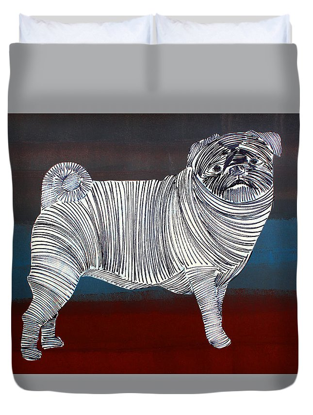 Dog Duvet Cover featuring the painting Lib-285 by Artist Singh