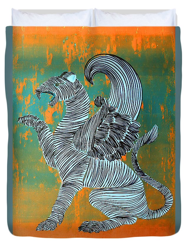 Gargoyle Duvet Cover featuring the painting Lib-474 by Artist Singh