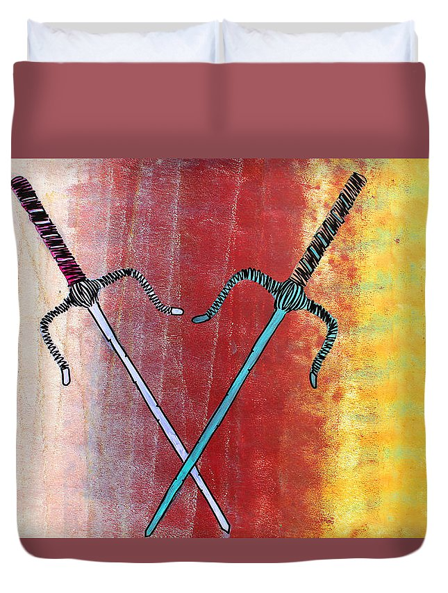 Weapon Duvet Cover featuring the painting Lib-475 by Artist Singh