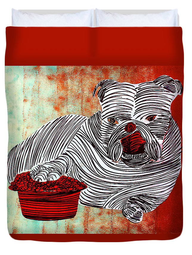 Dog Duvet Cover featuring the painting Lib-476 by Artist Singh
