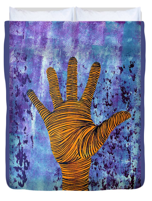 Hand Duvet Cover featuring the painting Lib-488 by Artist Singh