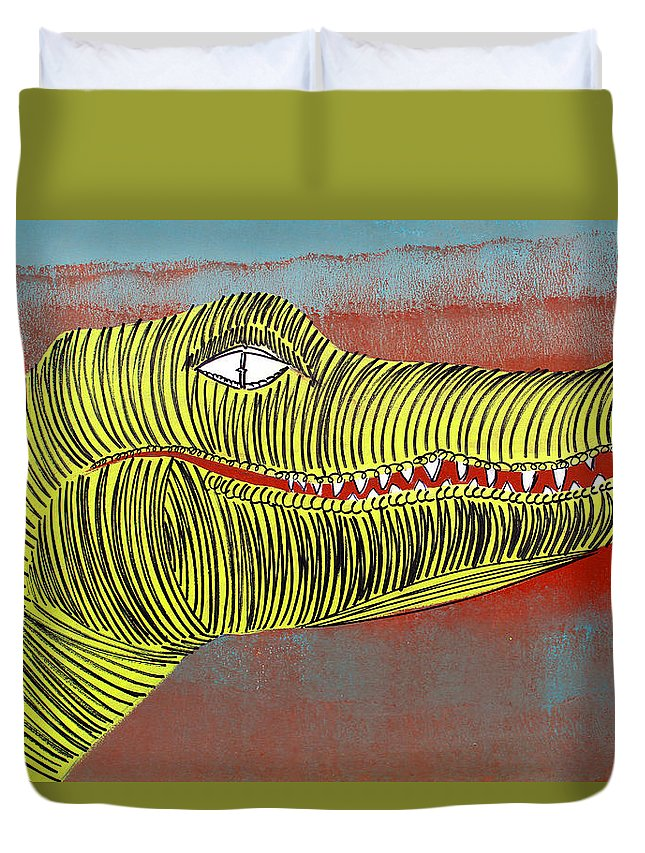 Crocodile Duvet Cover featuring the painting Lib-500 by Artist Singh