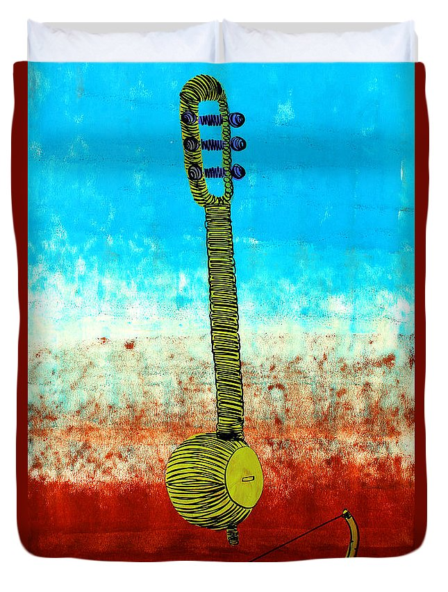Instrument Duvet Cover featuring the painting Lib-501 by Artist Singh