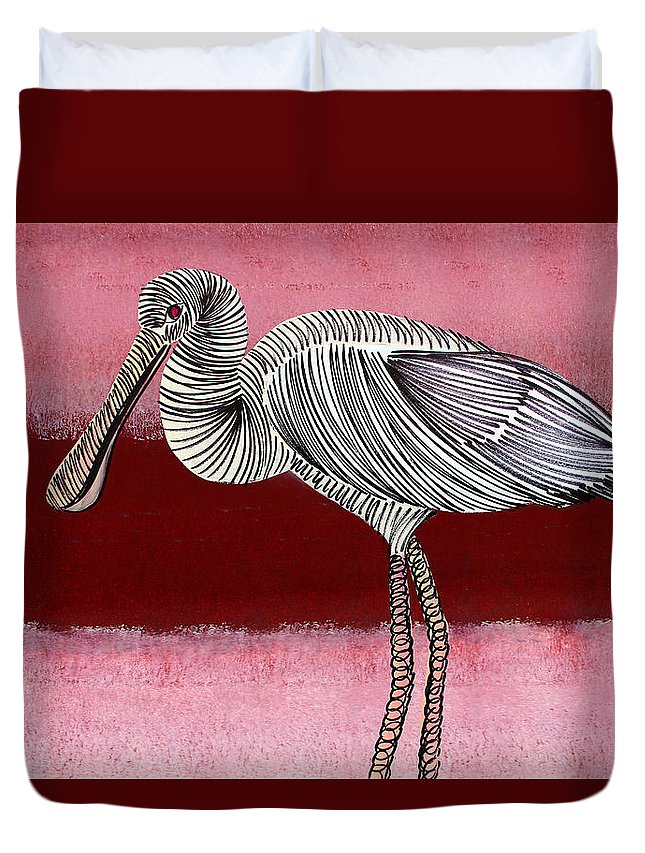 Bird Duvet Cover featuring the painting Lib-506 by Artist Singh