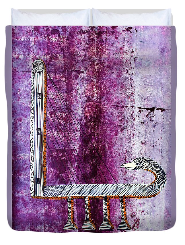 Harp Duvet Cover featuring the painting Lib-507 by Artist Singh