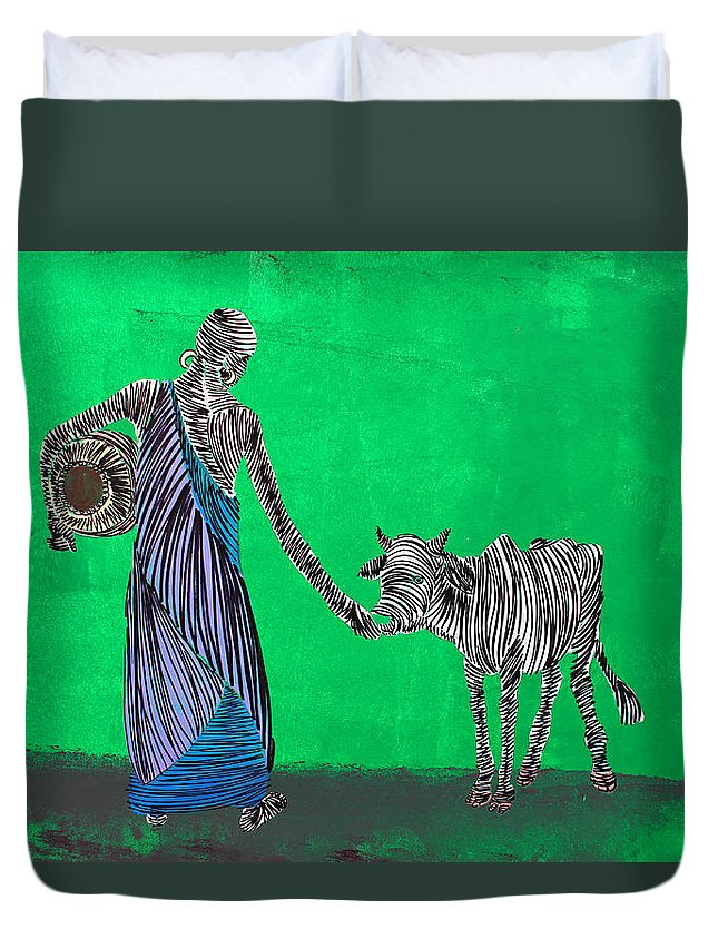 Calf Duvet Cover featuring the painting Lib-509 by Artist Singh
