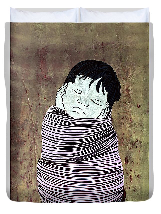 Baby Duvet Cover featuring the painting Lib-511 by Artist Singh