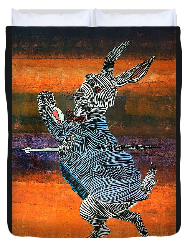Rabbit Duvet Cover featuring the painting Lib-512 by Artist Singh