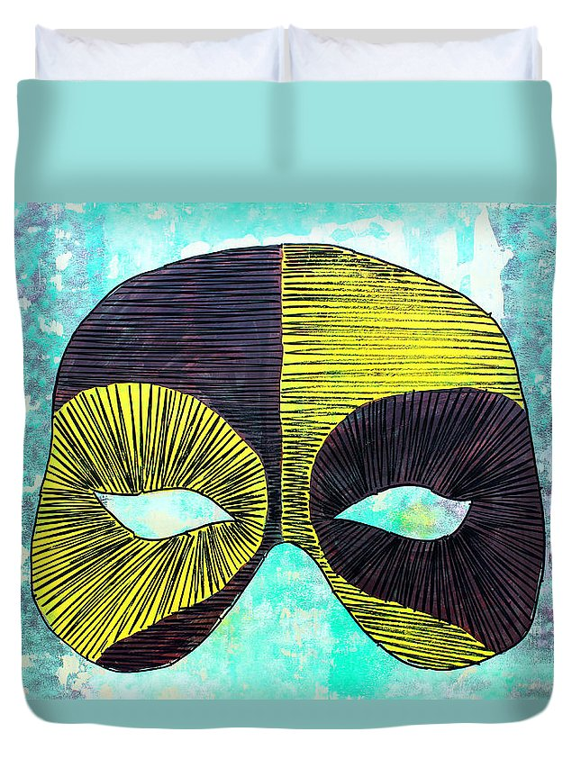 Mask Duvet Cover featuring the painting Lib-516 by Artist Singh