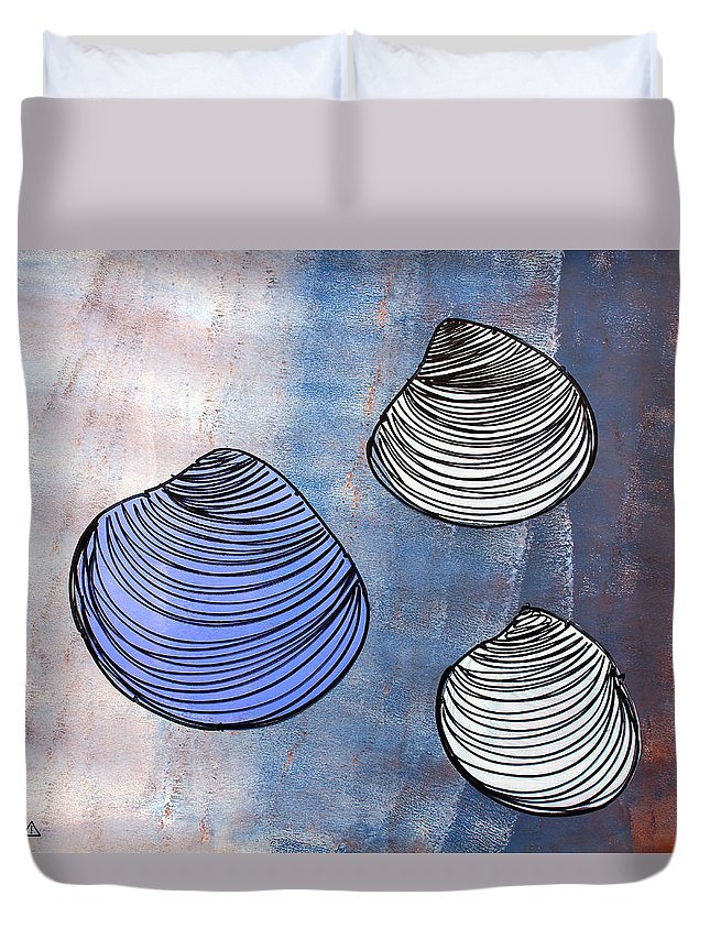 Clams Duvet Cover featuring the painting Lib-518f by Artist Singh
