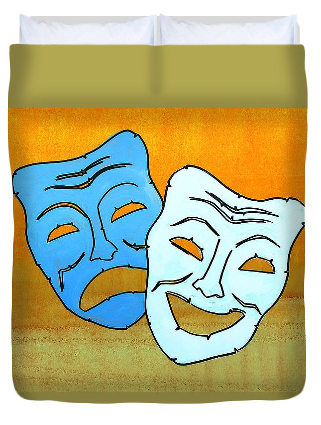 Masks Duvet Cover featuring the painting Lib-519 by Artist Singh