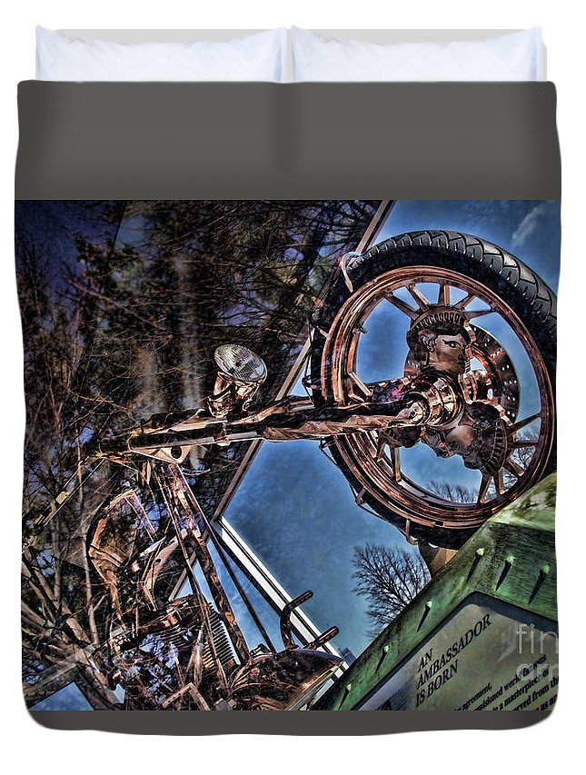 Liberty Bike Duvet Cover featuring the photograph Liberty Ambassador Copper Motorcycle Statue Of Liberty Ny by Chuck Kuhn