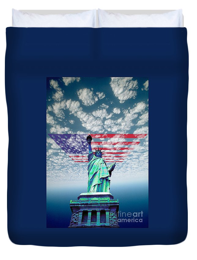 Flag Duvet Cover featuring the photograph Liberty And Flag by Wernher Krutein