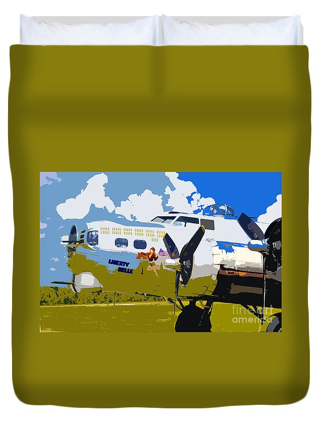 Flying Fortress Duvet Cover featuring the photograph Liberty Belle by David Lee Thompson