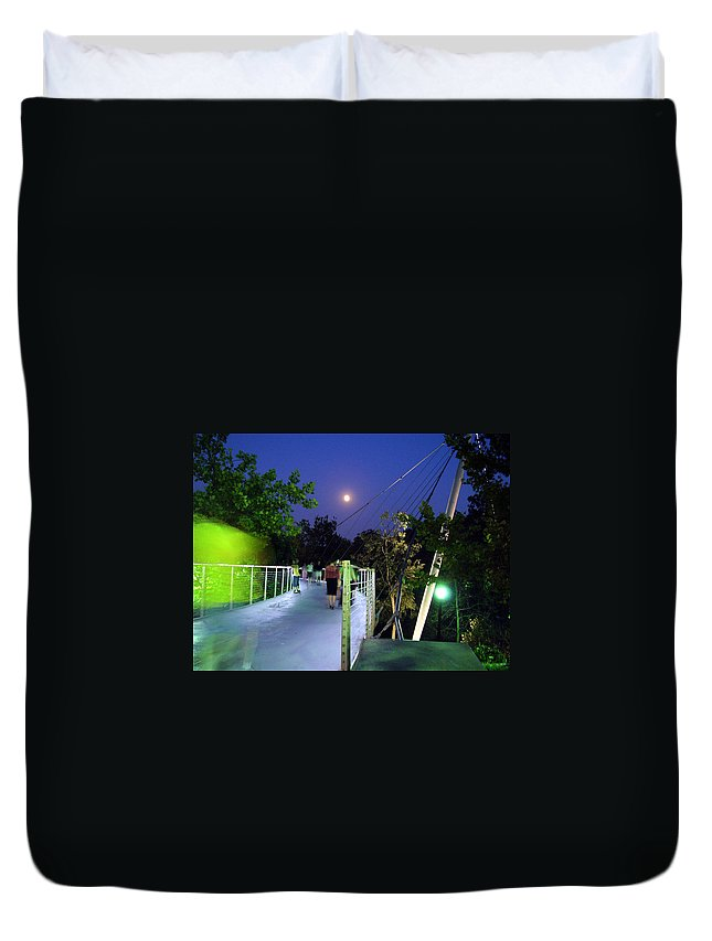 Liberty Bridge Duvet Cover featuring the photograph Liberty Bridge At Night Greenville South Carolina by Flavia Westerwelle